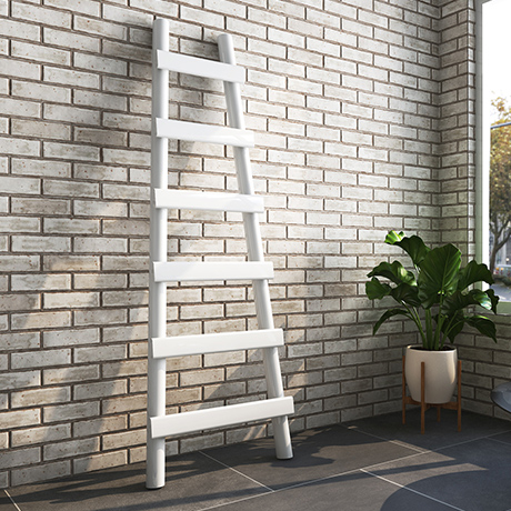 Arezzo White Leaning Ladder 1600 x 600 Heated Towel Rail
