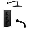 Arezzo Round Matt Black 2 Outlet Shower System (Fixed Shower Head + Bath Spout) profile small image view 1