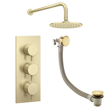 Arezzo Round Brushed Brass 2 Outlet Shower System (Fixed Shower Head + Overflow Bath Filler)