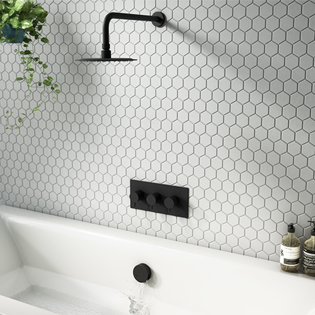 Arezzo Round Matt Black 2 Outlet Shower System (Fixed Shower Head + Overflow Bath Filler)