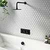 Arezzo Round Matt Black 2 Outlet Shower System (Fixed Shower Head + Overflow Bath Filler) profile small image view 1