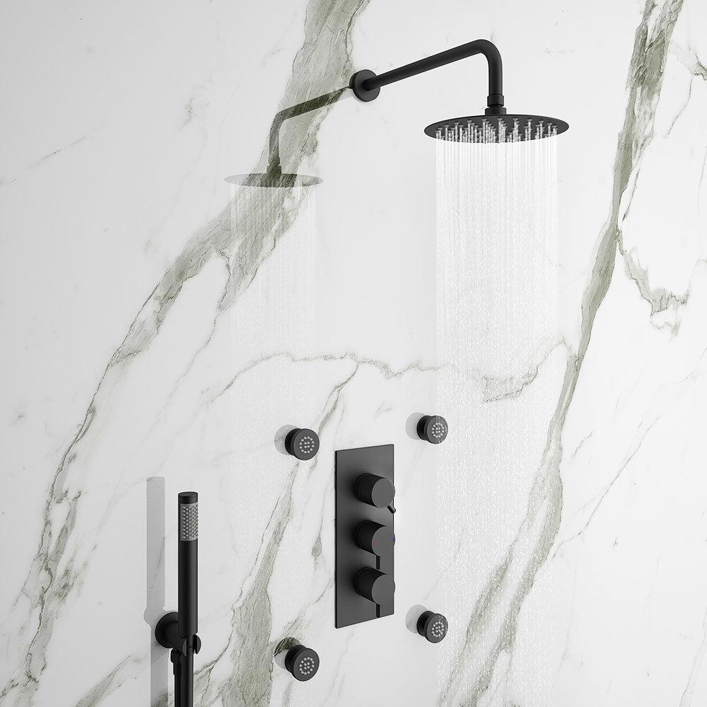 Arezzo Matt Black Round Concealed Triple Shower Valve with Diverter, Handset, Fixed Shower Head + 4 Body Jets