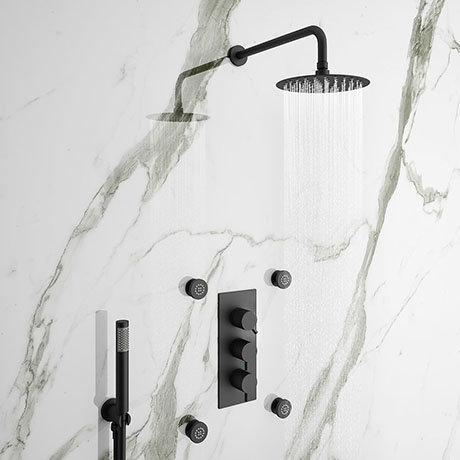 Arezzo Matt Black Round Concealed Triple Shower Valve with Diverter, Handset, Fixed Shower Head + 4