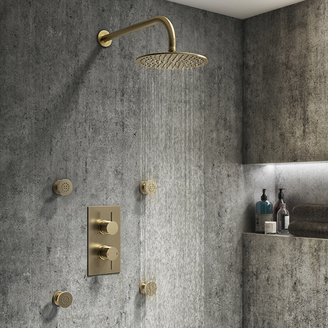 Arezzo Brushed Brass Round Shower System with Diverter, Fixed Shower Head + 4 Body Jets