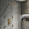 Arezzo Brushed Brass Round Shower System with Diverter, Fixed Shower Head + 4 Body Jets profile small image view 1