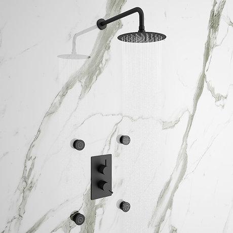 Arezzo Matt Black Round Shower System with Diverter, Fixed Shower Head + 4 Body Jets