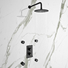 Arezzo Matt Black Round Shower System with Diverter, Fixed Shower Head + 4 Body Jets profile small image view 1