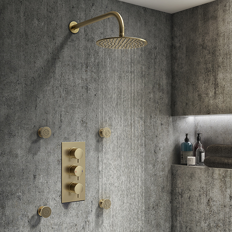 Arezzo Brushed Brass Round Concealed Triple Shower Valve with Fixed Head + 4 Body Jets