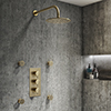 Arezzo Brushed Brass Round Concealed Triple Shower Valve with Fixed Head + 4 Body Jets profile small image view 1