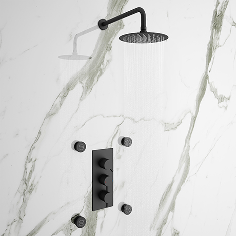 Arezzo Matt Black Round Concealed Triple Shower Valve with Fixed Head + 4 Body Jets