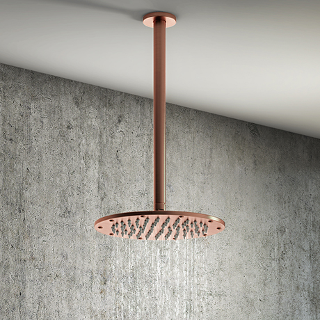 Arezzo Rose Gold 195mm Thin Round Shower Head + 300mm Ceiling Mounted Arm