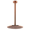 Arezzo Rose Gold 195mm Thin Round Shower Head + 300mm Ceiling Mounted Arm profile small image view 1