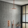 Arezzo Rose Gold Round Thermostatic Shower Pack with Ceiling Mounted Head + Handset profile small image view 1