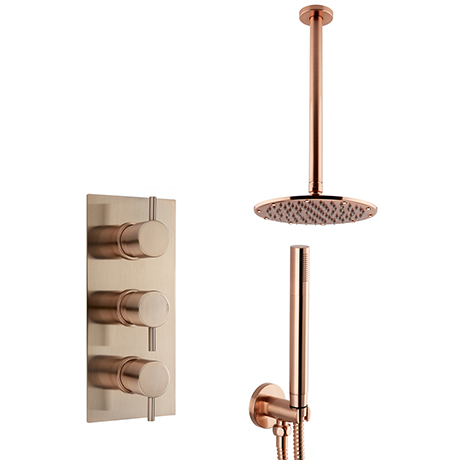 Arezzo Rose Gold Round Thermostatic Shower Pack with Ceiling Mounted Head + Handset