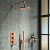 Arezzo Rose Gold Round Thermostatic Shower Pack with Wall Mounted Head + Handset profile small image view 1