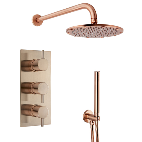 Arezzo Rose Gold Round Thermostatic Shower Pack with Wall Mounted Head + Handset