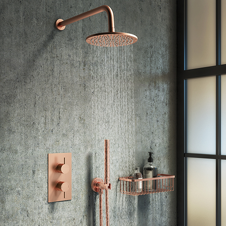 Arezzo Rose Gold Round Shower System with Twin Valve with Diverter, Wall Mounted Head + Handset