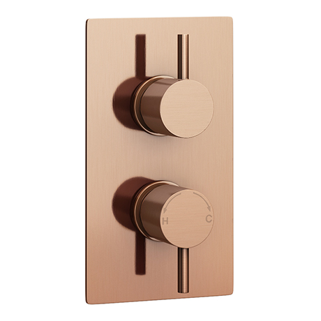 Arezzo Rose Gold Round Modern Twin Concealed Shower Valve with Diverter