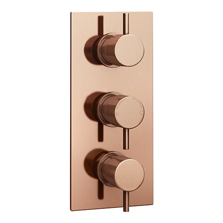 Arezzo Rose Gold Round Modern Triple Concealed Shower Valve