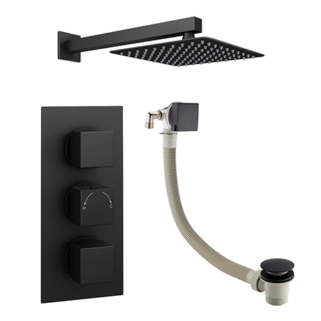 Arezzo Square Matt Black 2 Outlet Shower System (Fixed Shower Head + Overflow Bath Filler)