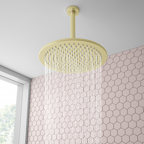 Arezzo Brushed Brass 300mm Thin Round Shower Head + 200mm Ceiling Mounted Arm