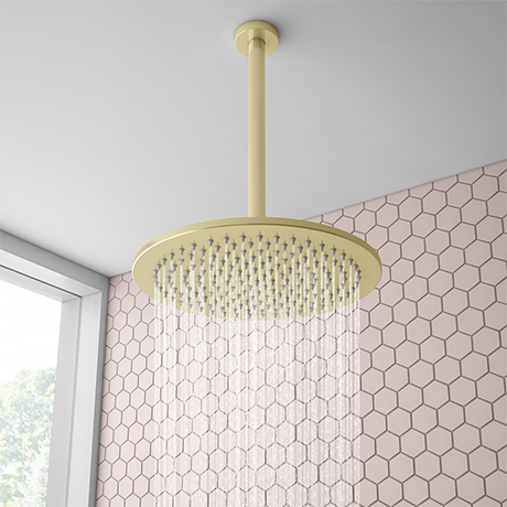 Arezzo Brushed Brass 300mm Thin Round Shower Head + 300mm Ceiling Mounted Arm