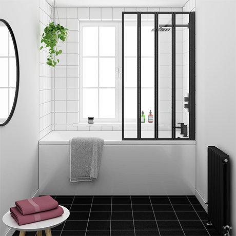 Arezzo Square Single Ended Bath with Matt Black Bi-Fold Screen
