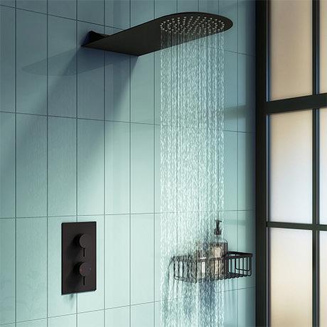 Arezzo Matt Black Round Shower Package w. Concealed Valve + Flat Fixed Shower Head