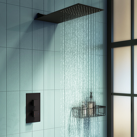 Arezzo Matt Black Square Shower Package w. Concealed Valve + Flat Fixed Shower Head