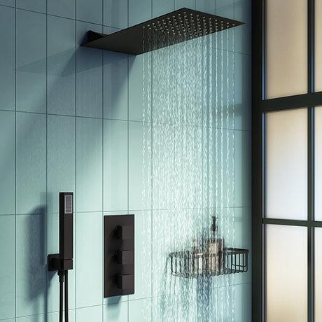 Arezzo Matt Black Square Triple Thermostatic Shower Pack w. Flat Fixed Head + Handset