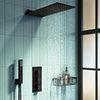 Arezzo Matt Black Square Triple Thermostatic Shower Pack w. Flat Fixed Head + Handset profile small image view 1