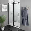 Arezzo Matt Black 1000mm Frameless Sliding Shower Door profile small image view 1