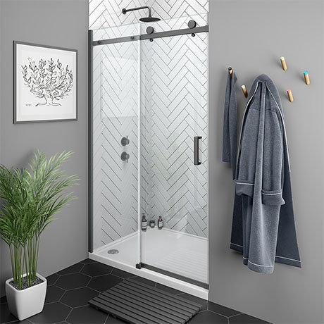 Arezzo Matt Black 1200mm Frameless Sliding Shower Door