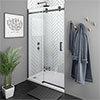 Arezzo Matt Black 1200mm Frameless Sliding Shower Door profile small image view 1