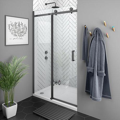 Arezzo Matt Black 1400mm Frameless Sliding Shower Door