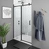 Arezzo Matt Black 1400mm Frameless Sliding Shower Door profile small image view 1