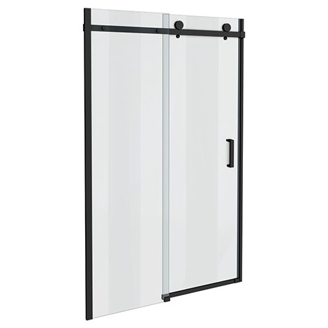 Arezzo Matt Black 1400mm Frameless Sliding Shower Door