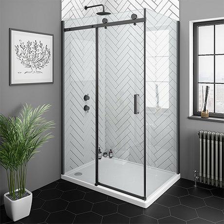Arezzo Matt Black 1000 x 700 Frameless Sliding Door Shower Enclosure