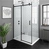 Arezzo Matt Black 1000 x 800 Frameless Sliding Door Shower Enclosure profile small image view 1