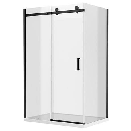 Arezzo Matt Black 1000 x 900 Frameless Sliding Door Shower Enclosure