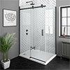Arezzo Matt Black 1200 x 700 Frameless Sliding Door Shower Enclosure profile small image view 1