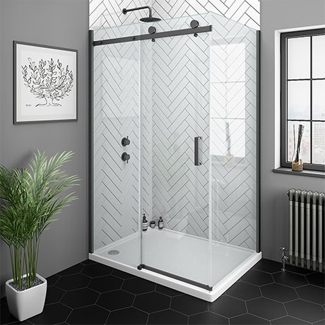 Arezzo Matt Black 1200 x 900 Frameless Sliding Door Shower Enclosure