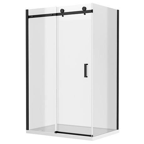 Arezzo Matt Black 1400 x 700 Frameless Sliding Door Shower Enclosure