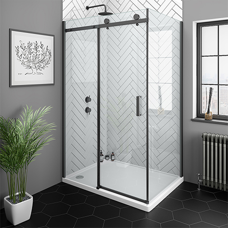 Arezzo Matt Black 1400 x 800mm Frameless Sliding Door Shower Enclosure
