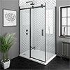 Arezzo Matt Black 1400 x 800mm Frameless Sliding Door Shower Enclosure profile small image view 1