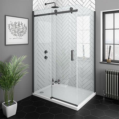 Arezzo Matt Black 1400 x 800mm Frameless Sliding Door Shower Enclosure