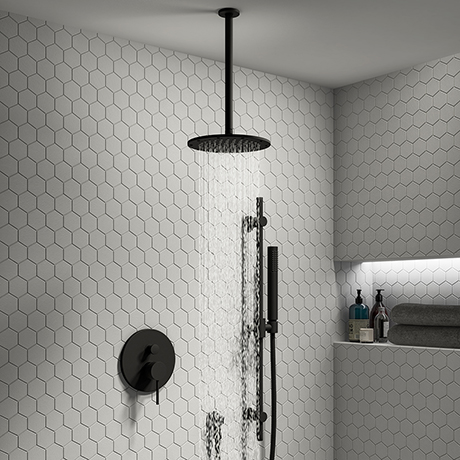 Arezzo Matt Black Shower System (Valve inc. 195mm Ceiling Mounted Head + Slide Rail Kit with Handset