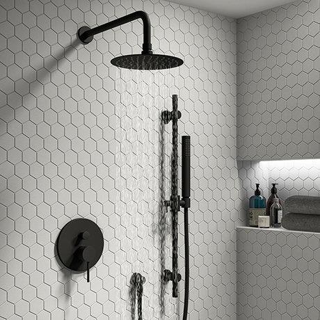 Arezzo Matt Black Shower System (Valve inc. 250mm Fixed Head + Slide Rail Kit with Handset)