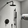 Arezzo Matt Black Shower System (Valve inc. 250mm Fixed Head + Slide Rail Kit with Handset) profile small image view 1