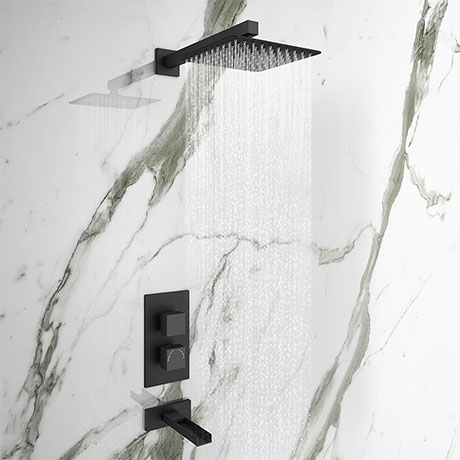 Arezzo Matt Black Shower Set (Fixed Shower Head + Waterfall Bath Filler)